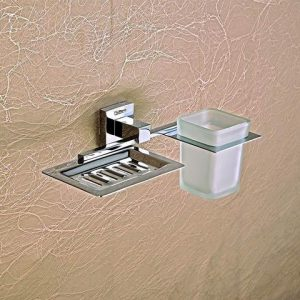 WALL MOUNTED SOAP DISH AND TOOTHBRUSH HOLDER